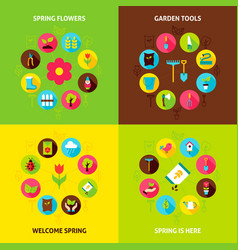 Spring garden concepts set vector