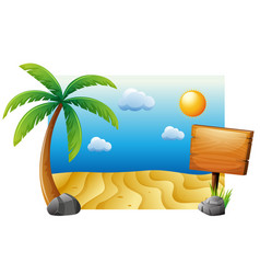 Summer scene with beach and tree vector