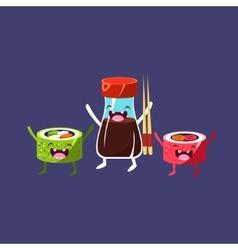 Sweet rolls and soya cartoon friends vector