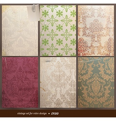 Vintage floral wallpaper set vector