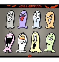 Halloween ghosts emoticons vector
