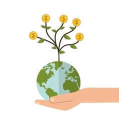 Shelter hand with earth globe money tree icon vector