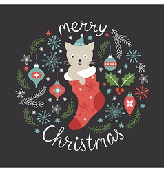 Christmas card cute little cat vector