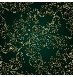 Floral vintage seamless pattern on green vector image