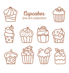 Cupcake line art collection vector