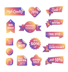 Discount shopping banners and pricing labels with vector