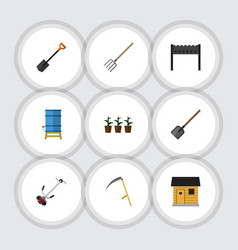 Flat icon garden set of spade barbecue cutter vector