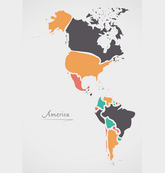 America continent map with states vector