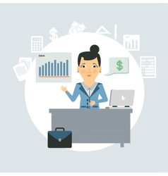 Accountant sitting behind a desk vector