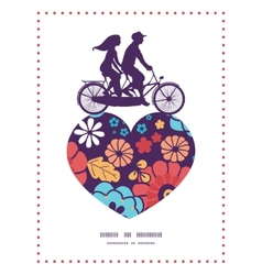 Colorful bouquet flowers couple on tandem bicycle vector