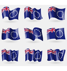Set of cook islands flags in the air vector