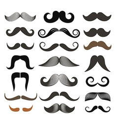 Different retro style moustache clip-art set vector