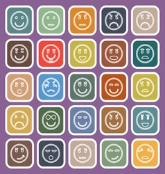 Circle face line flat icons on violet background vector