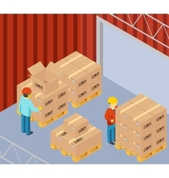 Warehouse with cardboard boxes on pallets vector