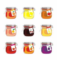 Jam jars and fruits vector