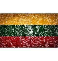 Flags lithuania with broken glass texture vector