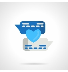 Flat blue love message icon vector