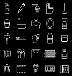 Bathroom line icons on black background vector image