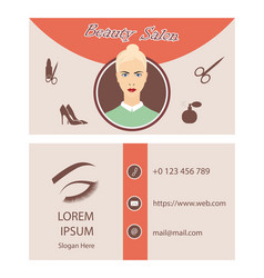 beauty salon card design vector image vector image