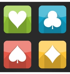 Bright playing cards suits icons set in modern vector