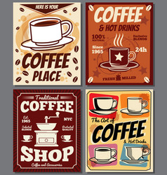 cafe and restaurant retro posters templates vector image