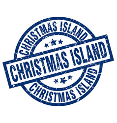 Christmas island blue round grunge stamp vector