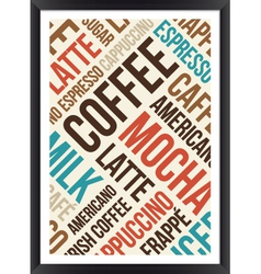 Coffee words cloud poster vector