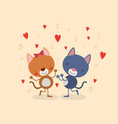 Color background with couple of kittens dancing in vector