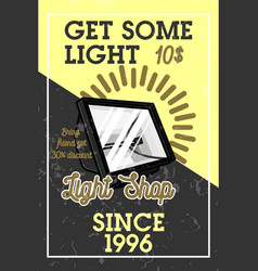 Color vintage light shop banner vector