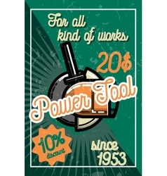Color vintage power tools store poster vector