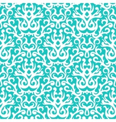 Damask pattern in white on turquoise vector