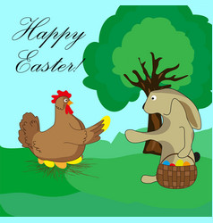 Easter bunny takes the egg from the chicken vector