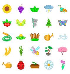 Flowering icons set cartoon style vector