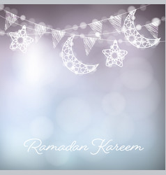 garlands with decorative moons stars lights and vector image vector image