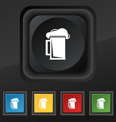 glass of beer icon symbol Set of five colorful vector image