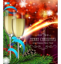 Glasses of champagne on christmas background vector