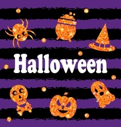 Halloween party banner with shine orange vector