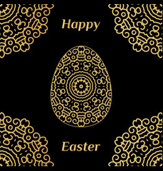 Happy easter card with lacy egg and black vector