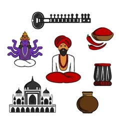 Indian travel and culture elements vector