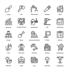 Industrial and construction line icon set vector