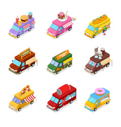 Isometric street food truck set vegeterian food vector