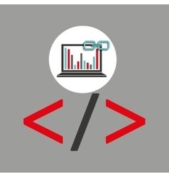 Laptop coding graphs link web vector