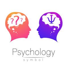 modern head sign of psychology profile human vector image vector image