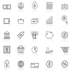 Money line icons with reflect on white vector image