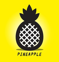 Pineapple black ananas symbol on yellow vector
