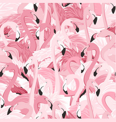 Pink flamingo birds flamboyance seamless pattern vector