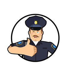 Police thumbs up Signs all right cheerful Kop vector image vector image