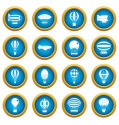 retro balloons aircraft icons blue circle set vector image