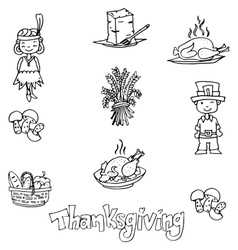 Thanksgiving in dooodle food party vector