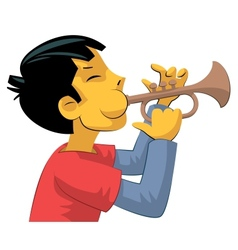 Trumpet player teenage boy vector